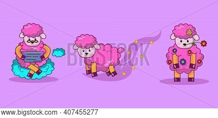 Set Of Sheep. Pink Cute Sheep. Vector Illustration Of Animal.