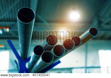 Steel Pipe Warehouse. Metal Pipelines At The Factory.