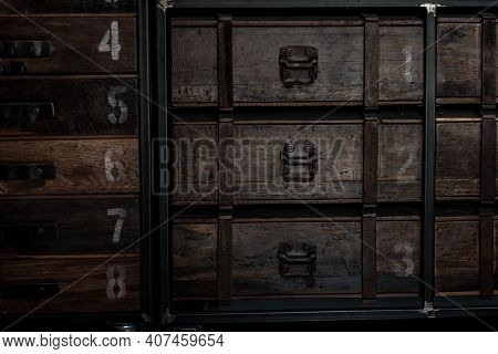 An Old Vintage Style Wooden Cabinet, Wooden Retro Style.
