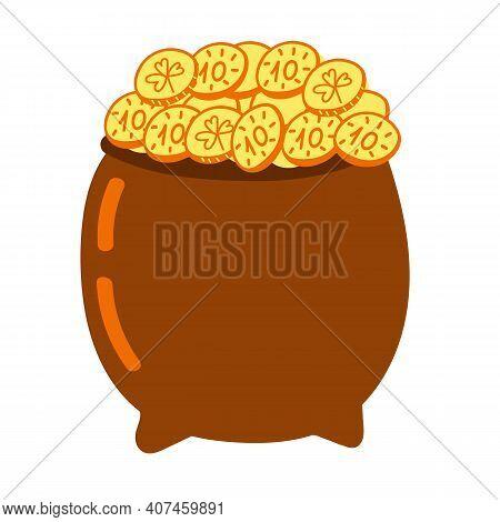 Pot Of Gold. Simle Vector Hand Drawn Illustration. Brown Pot Of Leprechaun. St Patricks Festive Symb