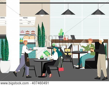 People In Cafe Work And Drink Coffee, Concept Vector Illustration. Customers Buy Coffee In Cafe Shop