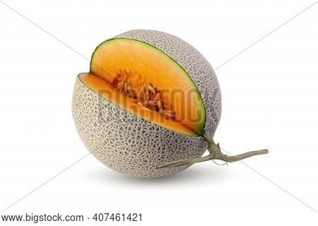 Sliced Cantaloupe Melon Isolated On A White Background.