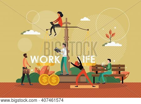Work Life Balance Concept Vector Illustration. Scale With Work Sign On One Side And Life Symbol On A
