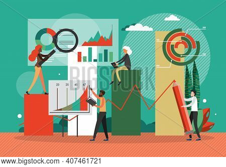 Businesscharts, Concept Flat Vector Illustration. Team Work On Finance And Business Strategy. Financ