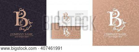 Premium Vector B Logo. Monnogram, Lettering. Delicate Elegant Floral Pattern Of Roses, Seamless Patt