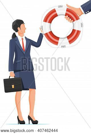 Desperate Businesswoman Getting Lifebuoy. Helping Business To Survive. Help, Support, Survival, Inve