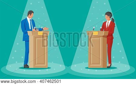 Male And Female Candidates At Rostrums With Microphones. Politics Discussing Between Man And Woman.