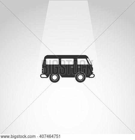 Mini Van Vector Icon, Van Simple Isolated Icon