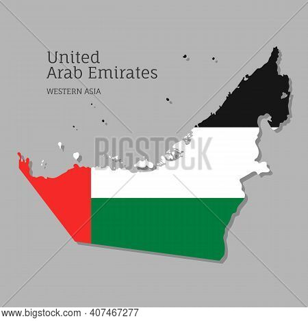 Map Of Uae With National Flag. Highly Detailed Editable Map Of United Arab Emirates, Western Asia Co