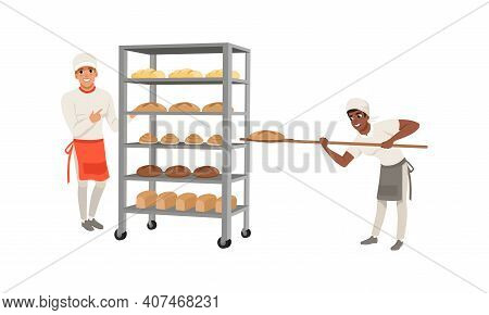 Professional Bread Bakers Set, Bakehouse Worker Carrying Freshly Baked Bread On Wooden Shovel Cartoo