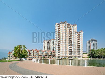 Luxury Residential Buildings With Boat Pier At The Entrance
