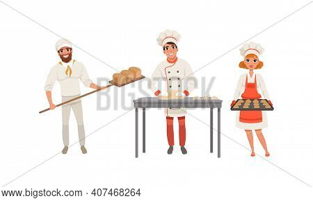 Professional Bread Bakers Baking Bread Set, Bakehouse Workers Characters In Uniform Cartoon Vector I