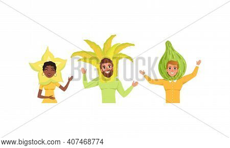 Smiling People In Fruit Headdress, Happy Persons Wearing Feijoa, Citron, Carambola, Headgears Cartoo
