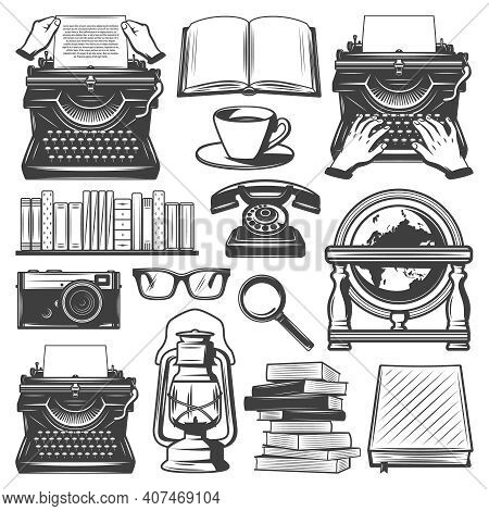 Vintage Writer Elements Set With Typewriter Books Coffee Eyeglasses Magnifier Oil Lamp Notebook Came