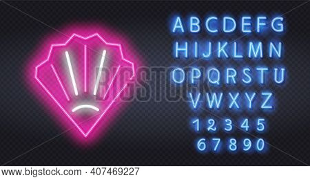 Seashell Neon Label. Vector Illustration Of Ocean Promotion. Glowing Neon Line Scallop Sea Shell Ico