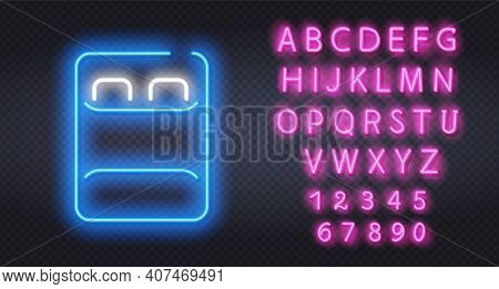 Double Bed Neon Sign. Luminous Signboard With Blue Bed Against Dark Brick Wall. Night Bright Adverti