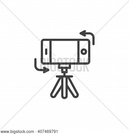 Mobile Phone Rotation Line Icon. Linear Style Sign For Mobile Concept And Web Design. Tripod With Sm
