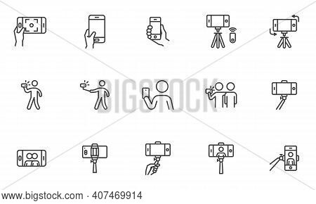 Selfie Photo Line Icons Set. Linear Style Symbols Collection, Outline Signs Pack. Vector Graphics. S