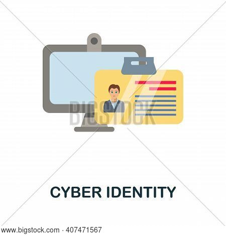 Cyber Identity Flat Icon. Color Simple Element From Fintech Collection. Creative Cyber Identity Icon