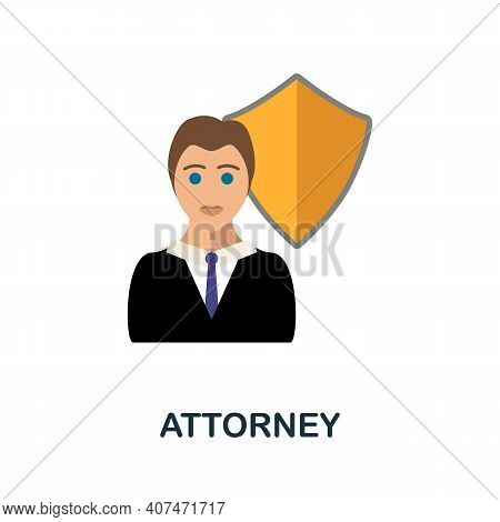 Attorney Flat Icon. Color Simple Element From Fintech Collection. Creative Attorney Icon For Web Des