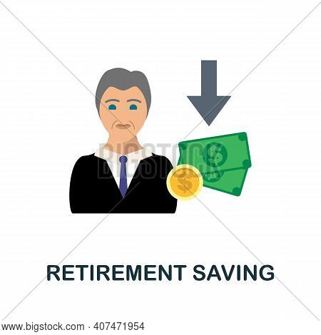 Retirement Saving Flat Icon. Color Simple Element From Fintech Collection. Creative Retirement Savin