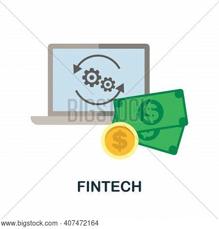 Fintech Flat Icon. Color Simple Element From Fintech Collection. Creative Fintech Icon For Web Desig