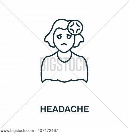 Headache Icon. Simple Illustration From Coronavirus Collection. Creative Headache Icon For Web Desig