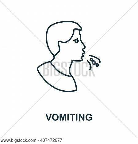 Vomiting Icon. Simple Illustration From Coronavirus Collection. Creative Vomiting Icon For Web Desig