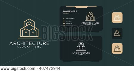 Minimal Real Estate Building Logo Design With Business Card Template. Logo Can Be Used For Icon, Bra