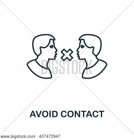 Avoid Contact Icon. Simple Illustration From Coronavirus Collection. Creative Avoid Contact Icon For