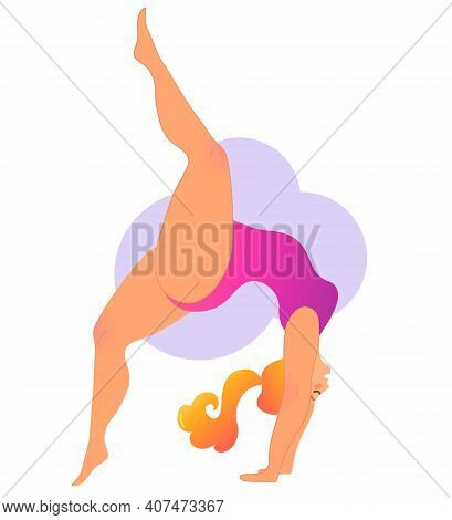 Plus Size Curvy Lady Doing Yoga Class. Vector Illustration Isolated On White. Online Home Workout Co