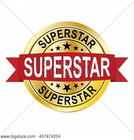 Superstar 3d Gold Badge With Red Ribbon On White