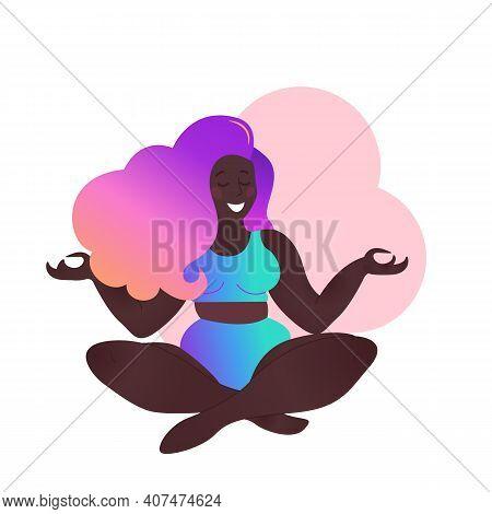 Plus Size Black Curvy Lady Doing Yoga Class. Vector Illustration Isolated On White. Sukhasana Or Eas