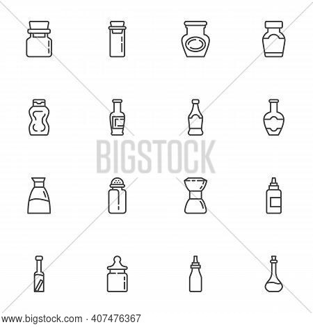 Condiment Bottles Line Icons Set, Outline Vector Symbol Collection, Linear Style Pictogram Pack. Sig