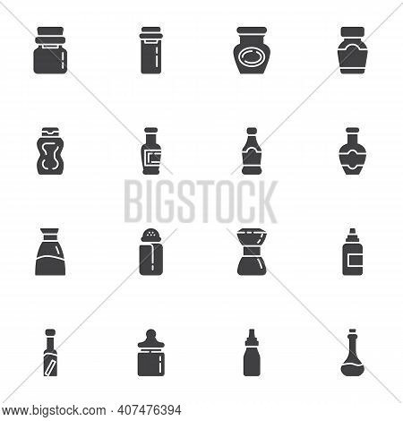 Condiment Bottles Vector Icons Set, Modern Solid Symbol Collection, Filled Style Pictogram Pack. Sig