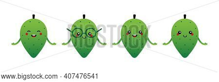 Set, Collection Of Cute And Smiling Cartoon Style Soursop, Guanabana Fruit Characters For Tropical F