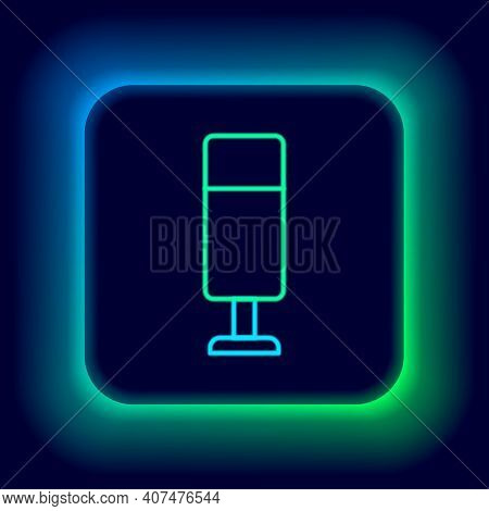 Glowing Neon Line Punching Bag Icon Isolated On Black Background. Colorful Outline Concept. Vector