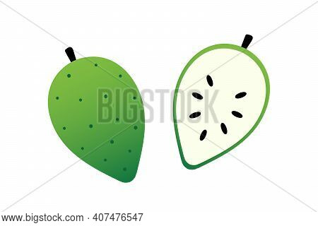 Soursop, Guanabana Fruit Whole And Cut In Half Vector Cartoon Style Icons, Illustration.