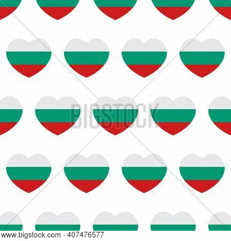 Heart-shaped Bulgarian Flags Vector Seamless Pattern Background.