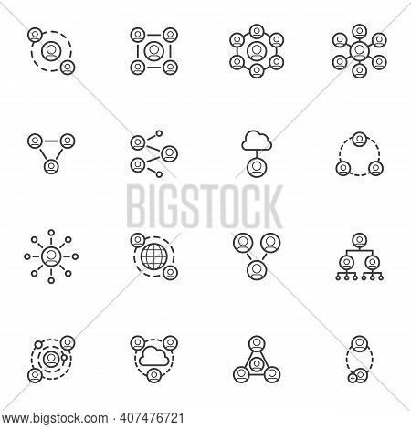 People Network Connection Line Icons Set, Outline Vector Symbol Collection, Linear Style Pictogram P