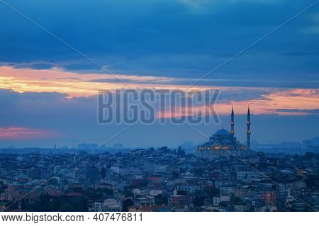 Fatih Camii Or Conquerors Mosque And Panoramic View On Istanbul, Turkey.