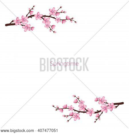 Cute Sakura Flowers Frame. The Cherry Branches Have Bloomed. Spring Pink Blooming Composition With B