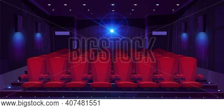 Movie Theater Hall With Seat Rows For Audience And Cinema Projector. Vector Cartoon Illustration Of