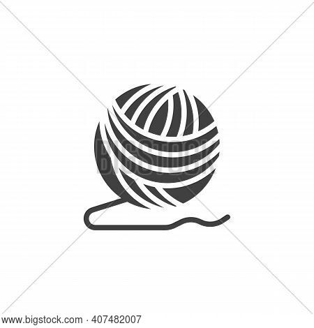 Ball Of Yarn Vector Icon. Filled Flat Sign For Mobile Concept And Web Design. Woolen Knitting Thread