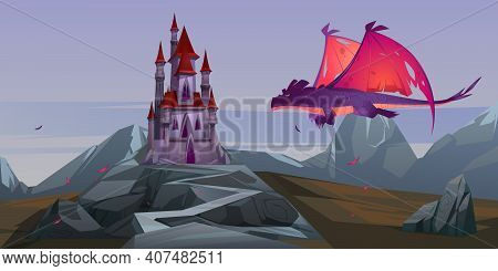 Fairy Tale Castle And Flying Dragon With Red Wings In Wasteland Mountain Valley. Vector Cartoon Fant