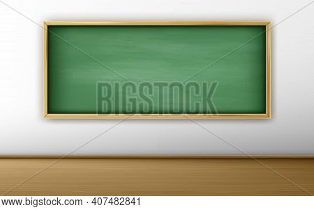 Green Blackboard, Chalkboard In Classroom With White Wall And Wooden Floor. Background For Online Co