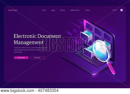 Electronic Document Management Banner. Online Paperwork Storage, Digital System Of Organization And