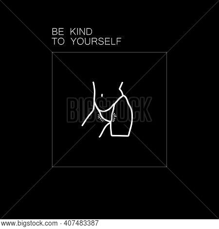 Beautiful Woman Body Line Art With An Unshaven Body. Minimalist Female Curvy Figure. Abstract Female