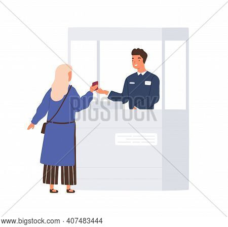Passenger Giving Her Document To Friendly Boarder Guard While Passing Airport Passport Control. Colo