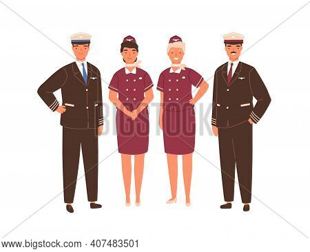 Aircraft Captain, Pilot Assistant And Stewardesses Standing In Uniform. Professional Airplane Staff